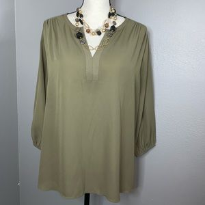 Pleione large army green blouse top GUC